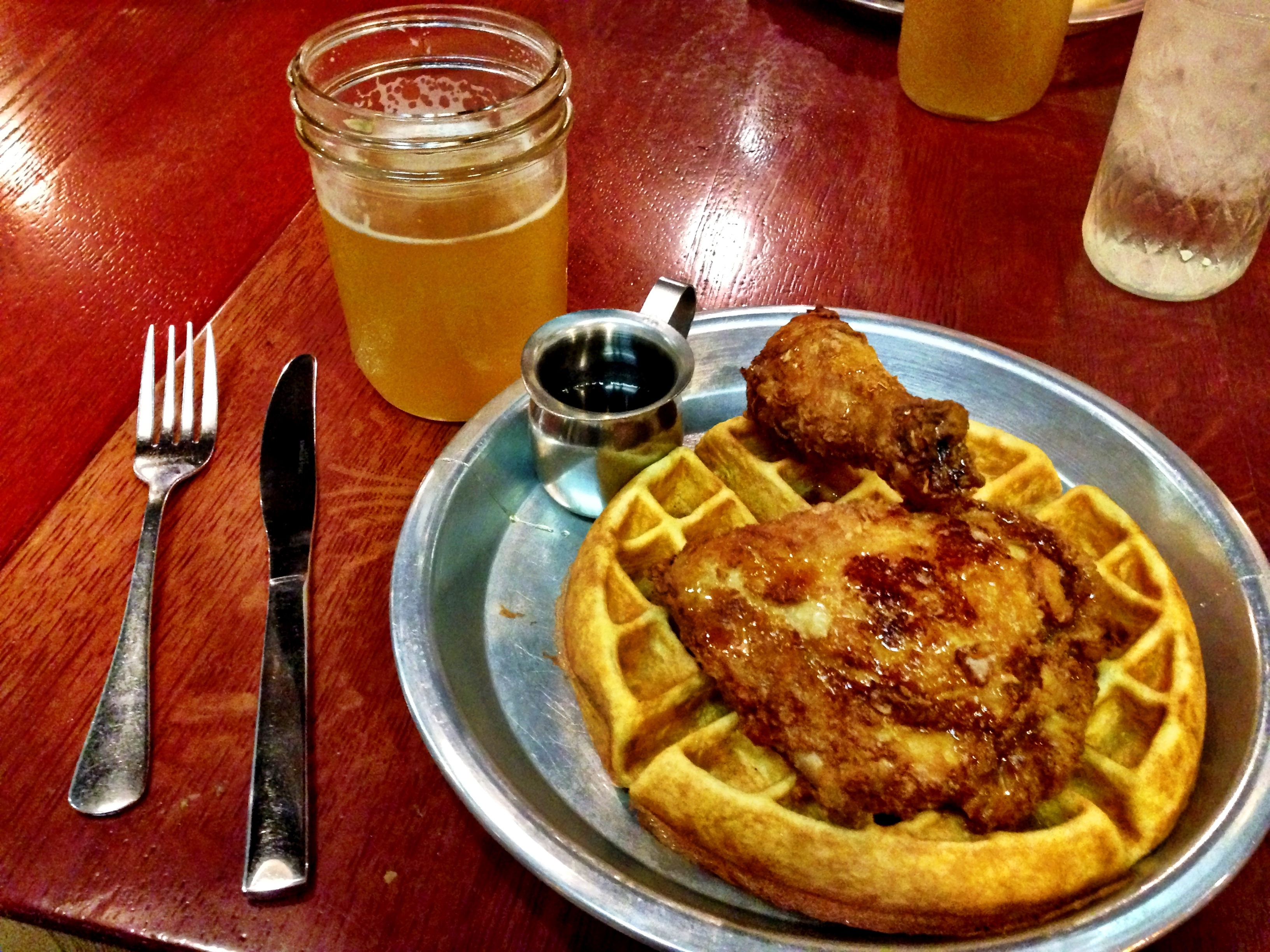 Chicken and waffles, black pepper honey beer ~ livin' large...