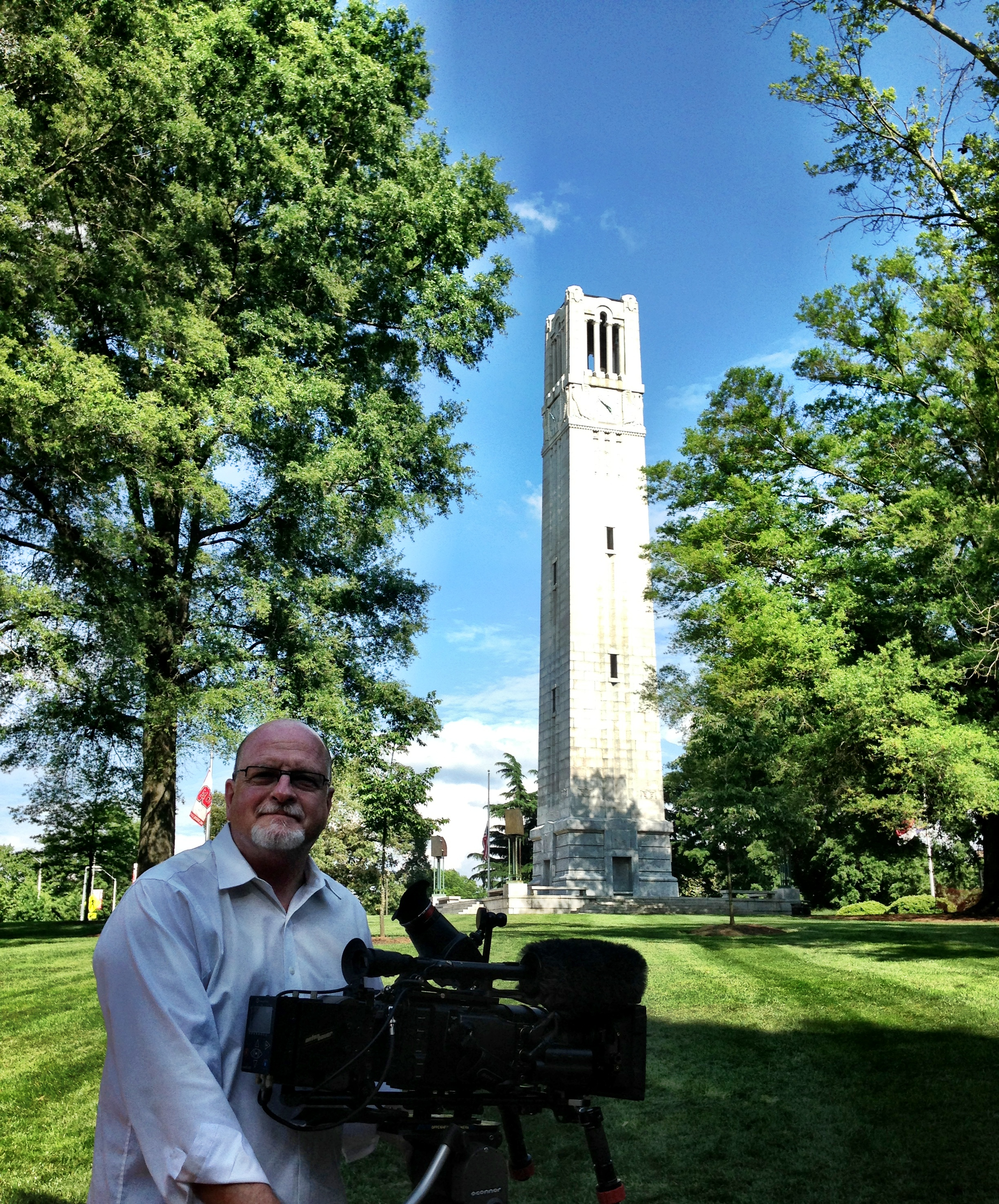 Mr. Team red jet geared up and ready to shoot at NC State University Memorial Belltower in Raleigh...