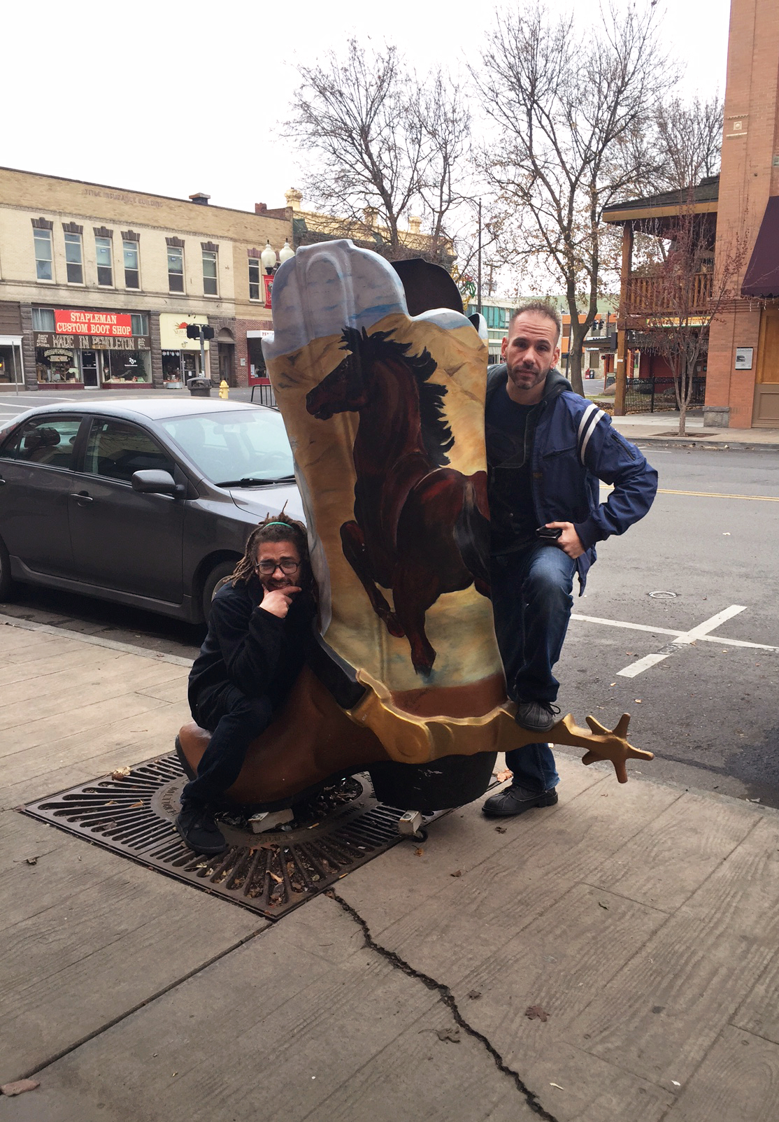 Kevin, Jet and a giant boot in Pendleton, OR.