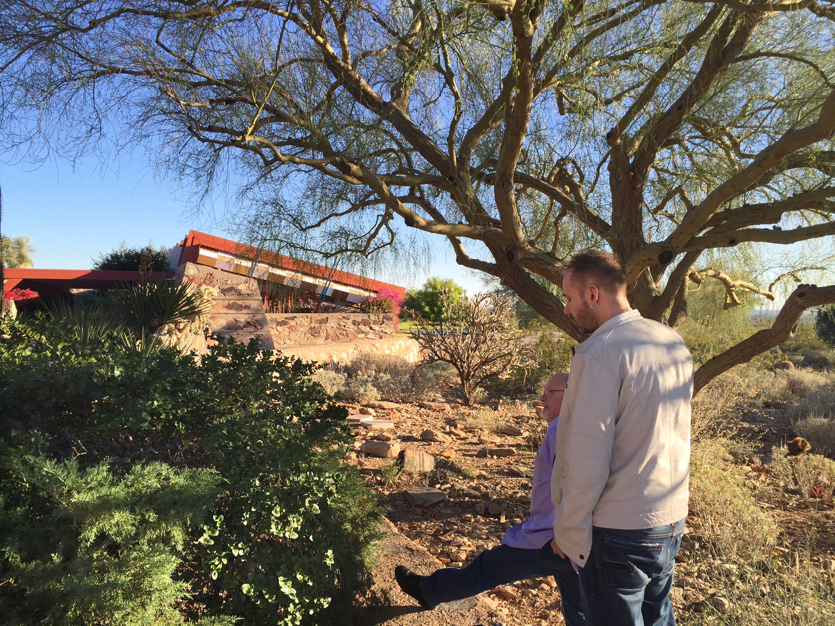 Outside Taliesin West in Phoenix, AZ