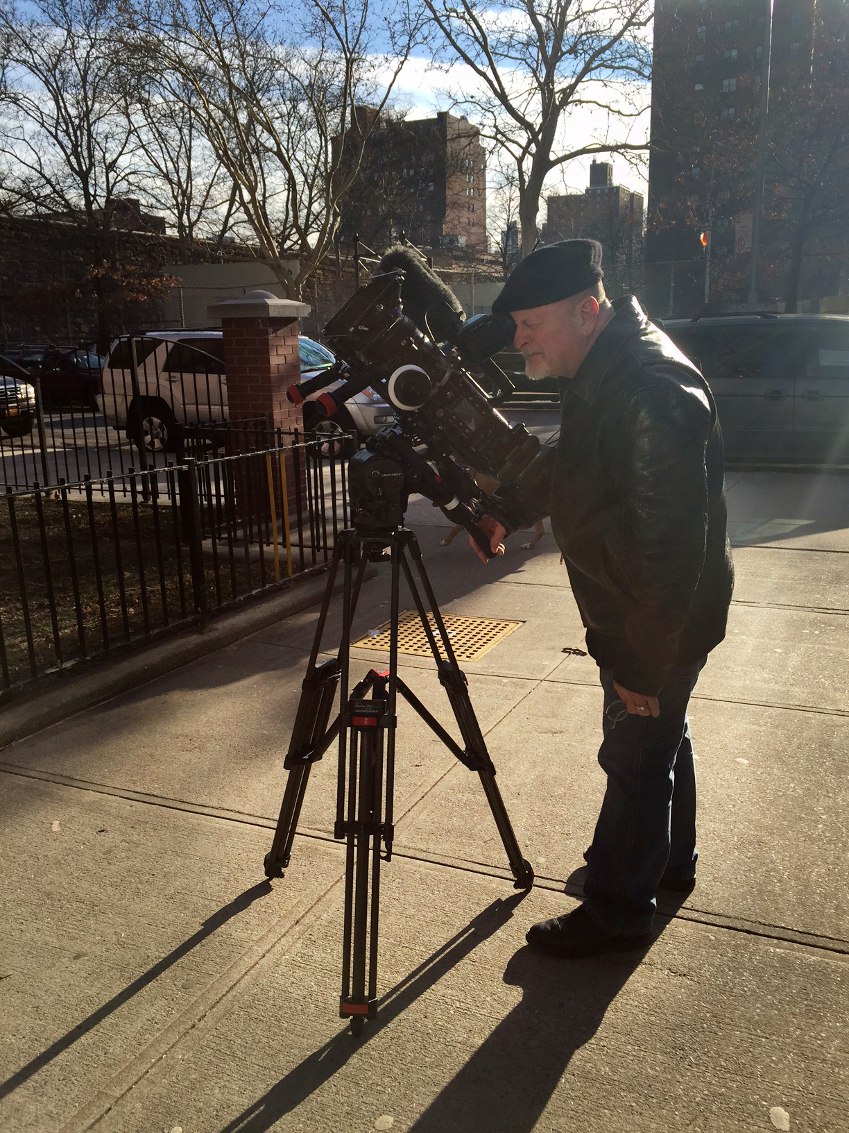 Filming on the streets of East Harlem