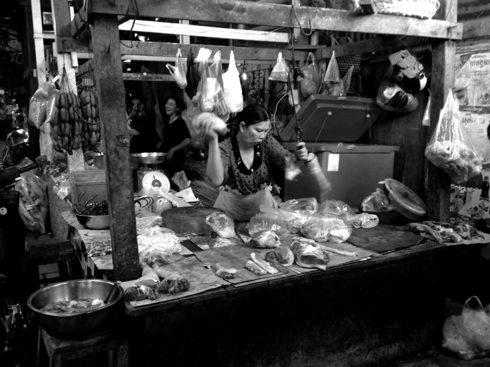 Russian meat market Phnom Penh